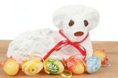 White easter lamb with painted eggs — Zdjęcie stockowe