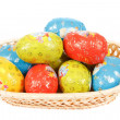 Easter chocolate eggs in basket — Stok Fotoğraf #23196122