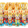 Group of easter chocolate rabbits - bunny — Stock Photo