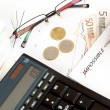 Changing impossible word to possible, calculator, charts, pen in hand, money, workplace businessman — Stock Photo #23340926