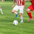 Soccer player legs dribbling in a match — Stock Photo