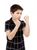 Teen boy boxer trains defence — Stock Photo