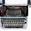 Retro uncovered blue typewriter — Stockfoto #25201709