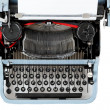 Retro uncovered blue typewriter — Stock fotografie #25201709