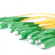Green fiber optic SC connectors — Stock Photo