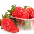 Stock Photo: Fresh strawberries in box on white