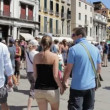 Crowd of tourists on most famous square July 16, 2012 in Venice — Stock Video