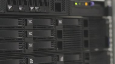 Servers stack with hard drives in a datacenter for backup and data storage — Stock Video