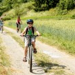 Family on bicycle trip — Stock Photo