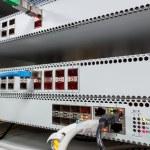 Technology center with fiber optic PON equipment — Stock Photo #31987159