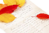 Handwritten letter with autumn leaves — 图库照片