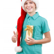 Teenager and christmas gift — Stock Photo #34347155