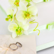 Wedding cake detail with orchid flowers — Stock Photo #35636327