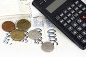 Czech money banknotes, coins and calculator — Stock Photo