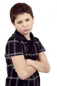 Pensive young boy isolated on white background — Stock Photo