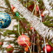 Decorated christmas tree with balls — Stock Photo