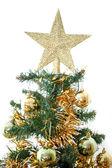 黄色と緑のボール クリスマス ツリーの装飾 — ストック写真