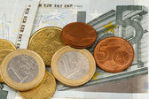 Macro photography of euro money and coins — Stock Photo