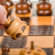 Chess play with focus to white chess pawn in front — Stock Photo