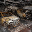 Close up photo of a burned out cars — Stock Photo
