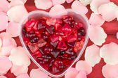 Brightly coloured red gums hearts — Stock Photo