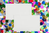 Small color confetti and empty card — Stock Photo