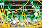 Fiber optic datacenter with media converters and optical cables  — Stock Photo