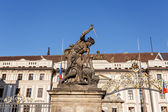 View of statue behind Prague castle — Stock Photo