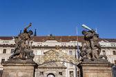 Statue on entrance to Prague castle — Stock Photo