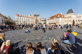 Street musicians on Old Town Square — Stock Photo