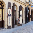 Old street in Prague town with souvenir shops — Stock Photo