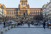 Top of Wenceslas square and national museum in background — Стоковое фото