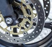 Motorcycle wheel brake background in motorbike, motorcycle wheel — Stock Photo