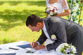 Groom signing certificate in park  — Stock Photo
