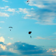 Unidentified skydivers, parachutist on blue sky — Stock Photo #49782981