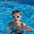 Boy with spectacles in the swimming pool — Stock Photo #8895365