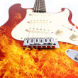 Fire electric guitar — Stock Photo