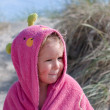 Girl in a pink towel — Stock Photo