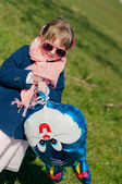 Girl and rabbit balloon — Stock Photo