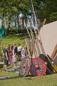 Wikingowie spears i tarcze — Zdjęcie stockowe