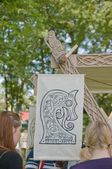 The detail of the decoration of a vikings tent — Stock Photo