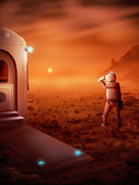 Spaceman op Mars — Stockfoto