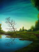 Lake and slanted tree — Stock Photo