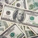 fondo con billetes de dinero americano cien — Foto de Stock   #4618514
