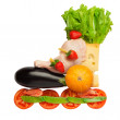 Healthy food in a healthy body: fitness as a life-style. — Stock Photo