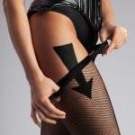 Fallow the black stockings. — Stock Photo