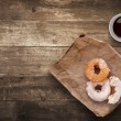 Foto Stock: Donuts for lunch.