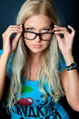 Blonde with glasses — Stock Photo