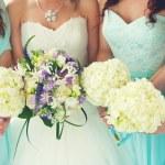 Bride and Bridesmaids bouquets — Stockfoto