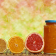 Jar of marmalade with fruits — Stock Photo